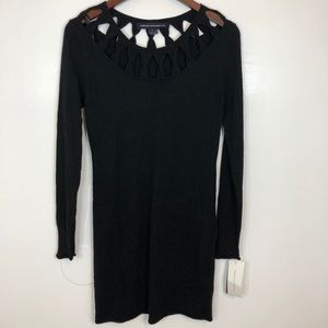 French Connection Black Long Sleeve Midi Dress NWT